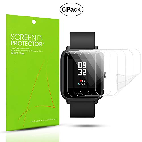 Diruite 6-Pack for Xiaomi Huami Amazfit Bip Screen Protector Soft Film [Anti-Scratch] [Full Coverage] [HD Clear] - Permanent Warranty Replacement