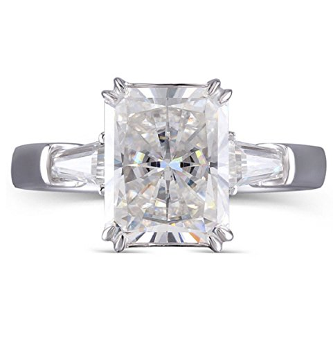 GOWE 4ct 8X10mm F Color Radiant Cut Moissanite Simulated Diamond Engagement Wedding Ring Genuine by GOWE