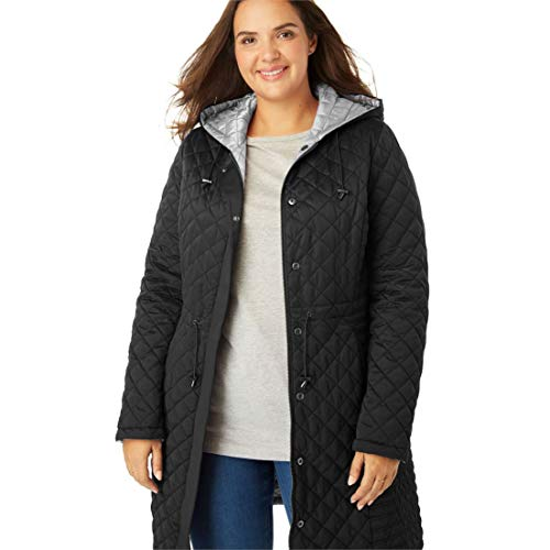 (Woman Within Women's Plus Size Quilted Reversible Hooded Coat - Black Pearl Grey, 22)