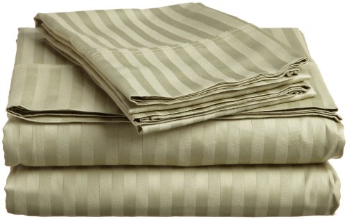 (Superior 400 Thread Count 100% Premium Combed Cotton, 4-Piece Bed Sheet and Pillowcase Cover Set, Stripe, King - Sage)