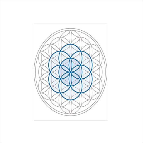 Decorative Privacy Window Film/Several Interlace Round Shaped Ovals Legendary Sacred Knot of Life Artwork Decorative/No-Glue Self Static Cling for Home Bedroom Bathroom Kitchen Office Decor Warm Taupe