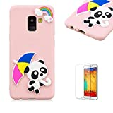 Funyye 3D Silicone Case for Samsung Galaxy A8 Plus 2018,Stylish Cute Rainbow Panda Pattern Soft Gel Flexible TPU Cover for Samsung Galaxy A8 Plus 2018,Shockproof Non Slip Slim Fit Rubber Durable Shell Bumper Back Protective Case for Samsung Galaxy A8 Plus 2018 + 1 x Free Screen Protector