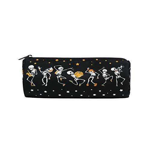 Icyflower Pencil Bag Skull Cranium Halloween Music Dance Band Pattern Print Twill Weave Black Zipper Pen Holder Present]()