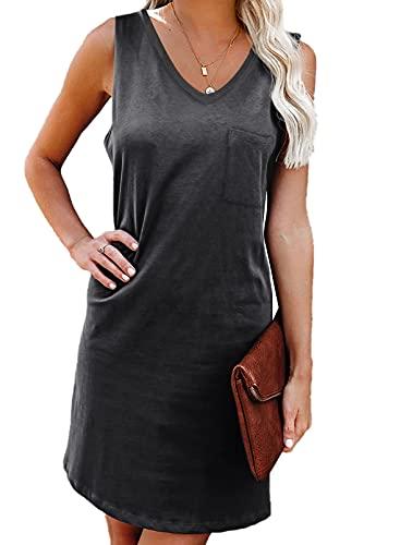 ACTLOE 여자 드레스 캐주얼 여름 탱크 드레스 V 넥 솔리드 민소매 드레스 포켓