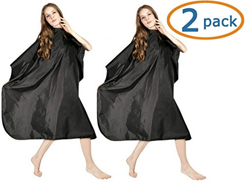 Icarus Icarus Black Nylon Hair Styling Salon Cape with Snaps, 2 Pack