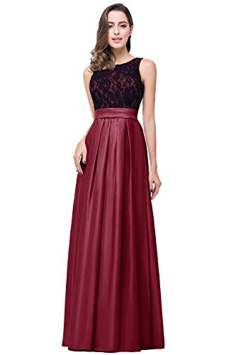 Damen Elegant Ausschnitt Satin Am Ballkleid Rücken Misshow Spitze Rot Lang V Abendkleid d5ntWBqwY