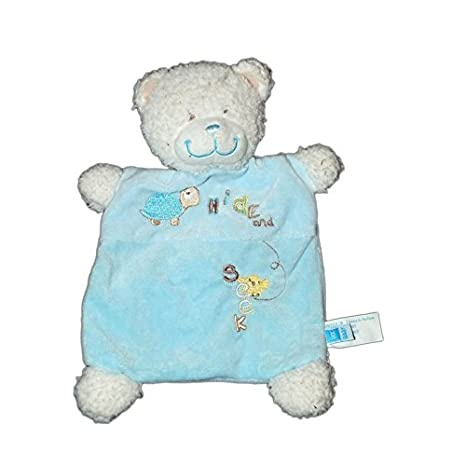 Doudou plat OURS blanc bleu TEX Baby Carrefour CMI Hide and Seek Tortue brodée 8164: Amazon.es: Bebé