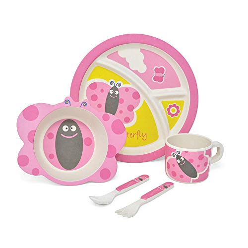 Girls Butterfly Bamboo Kids Eating Set | Non-Toxic, FDA Inspected, BPA Free & Eco-Friendly | Baby, Toddler, Kids Bamboo Dinnerware Set