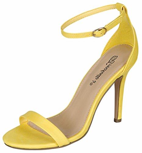 Breckelles Womens Sydney-46 Stiletto Ankle Strap Dress High Heeled Nubuck Sandals Yellow ilFw3O