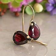 14K Gold Red Garnet Earrings - 14K Solid Yellow Gold Dangle Drop Earrings, January Birthstone, 7x10mm Dark Red