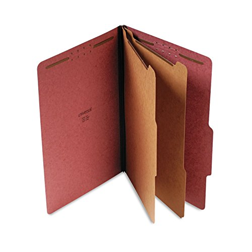 Universal 10280 Pressboard Classification Folder, Legal, Six-Section, Red, 10/Box ()