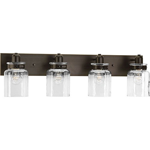 - Progress Lighting P300048-020 Calhoun Collection Four-Light Bath & Vanity, Antique Bronze