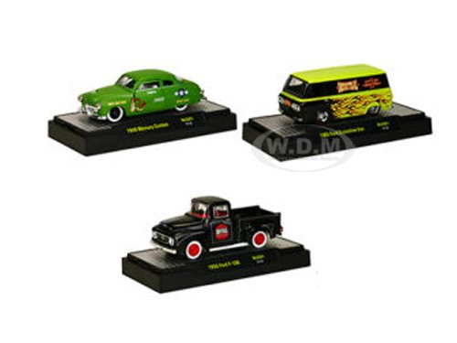 Auto Thentics 3 Cars Set Release 1 WITH CASES Limited Edition to 1,600pcs 1/64 by M2 Machines 32500-MJS01