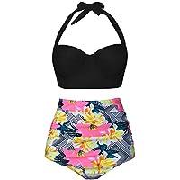 facf8369bd UniSweet Women Vintage Polka Dot High Waisted Bikini Set Two Piece Swimsuits