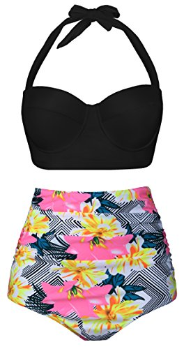 or Women Girls Bikini Plus Size Juniors 2017 Teens Women's Tankini Bathing Suit Two Pieces High Waisted Swimwear UBKS032-B1-MP (US 4-6=Tag Size M, Black-Two) ()