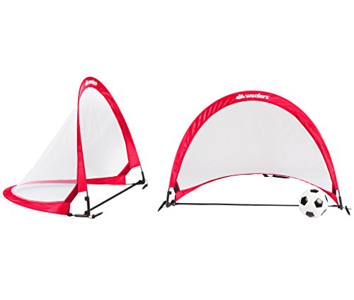 Wealers 4 Feet Pop Up Goals Soccer Training For kids | Portable And Lightweight | Foldable for Easy Carry | A Bag And 2 Net Goals Included (Red)