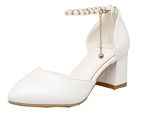heels shoes Pumps Pointed Material Buckle Kitten Women's Odomolor White toe Soft zOwAx0