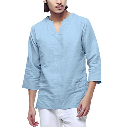 (Men's Tops Baggy Cotton Linen 3/4 Blouse Sleeve Retro V Neck T Shirts Blue)
