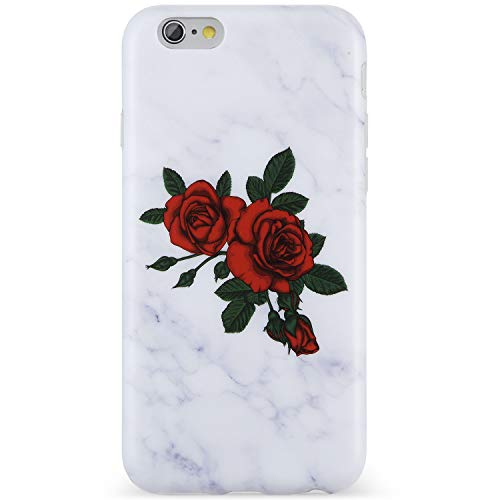 Red Roses Iphone - VIVIBIN iPhone 7 Case,iPhone 8 Case,Cute Red Roses Grey Marble for Women Girls Clear Bumper Soft Silicone Rubber Matte TPU Best Protective Cover Slim Fit Phone Case for iPhone 7/iPhone 8-158