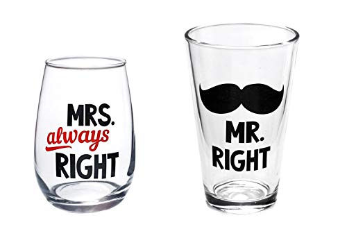 Mr.Right beer glass and Mrs.Always right wine glass for wedding gifts, engagement gifts, anniversary gifts.