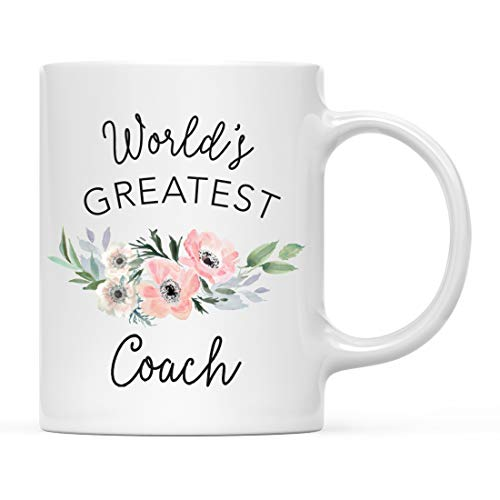 Andaz Press 11oz. Coffee Mug Gift for Women, World's Greatest Coach Mug, Bohemian Pink Anemone Floral Flower, 1-Pack, Drinking Cup Birthday Christmas Promotion Graduation Gift Ideas for Her