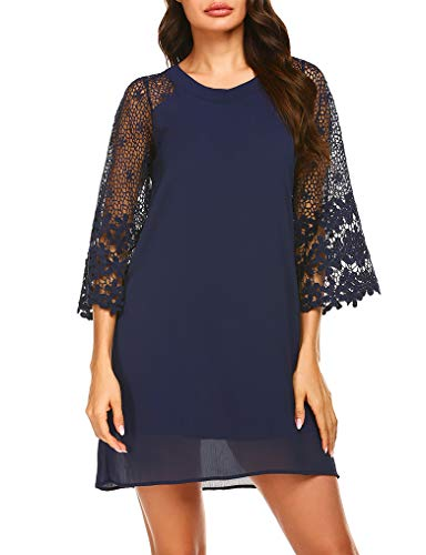 (OURS Womens 3/4 Sleeve Chiffon Hollowed Loose Above Knee Length Dresses Navy Blue M)