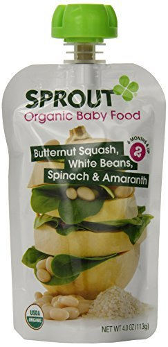 Sprout Baby Food Stage Two, Butternut Squash, White Beans, Spinach and Amaranth, 4 Ounce (Pack of 5) by Sprout Baby
