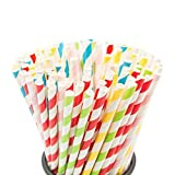 Paper Straws Biodegradable 200 Pack 8 Different Colors Rainbow Stripe Paper Drinking Straws
