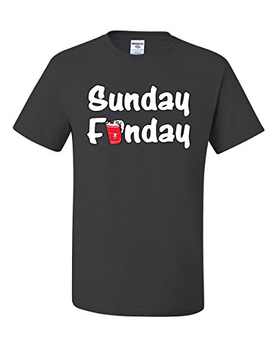 Sunday Funday Beer Funny Humor Tee Graphic Unisex T-Shirt - ( X-large, Charcoal (Halloween City Toledo)