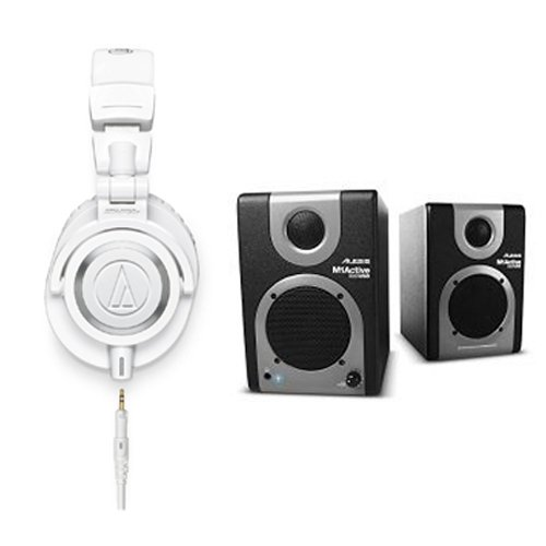 Audio-Technica-ATH-M50xWH-Professional-Studio-Monitor-Headphones-with-Alesis-M1-Active-320-USB-Studio-Monitor-Speakers