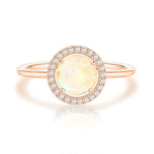 PAVOI 14K Rose Gold Plated Swarovski Crystal Birthstone Ring - Adjustable Stackable Ring October