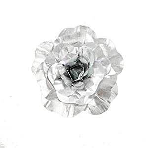 """BalsaCircle 4 pcs 16"""" Wide Silver Artificial Large Roses Flowers Wall Backdrop Party Wedding Decorations 37"""