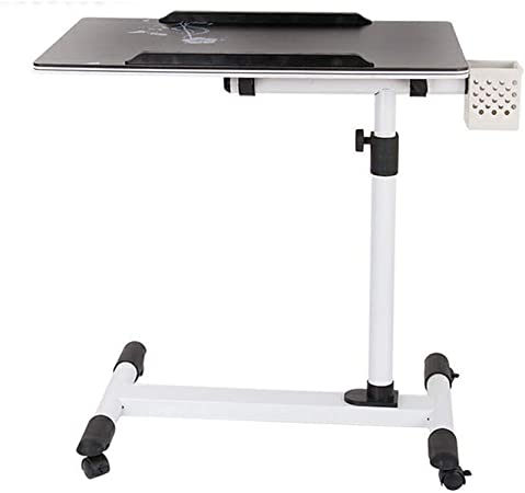 DPS/&RXX Classics Tilting Mobile Laptop Computer Desk Cart with Stopper Ledge Height-Adjustable Ergonomic Sit-Stand Mobile Laptop Cart Work Station,A