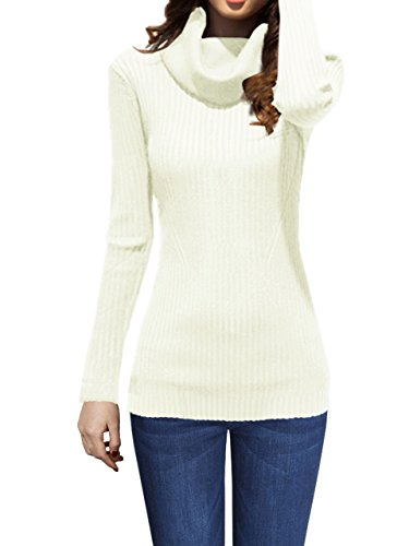 V28 Women Stretchable Cowl Neck Knit Long Sleeve Slim Fit Bodycon Sweater(Large,White) Cowl Neck Striped Sweater