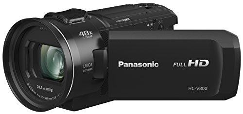 Panasonic Hc-V800 HD Camcorder, 24x Leica Dicomar Lens, 1/2.5″ Bsi Sensor, Three O.I.S. Stabilizer Systems, Wireless Twin-Camera Capture (USA Black