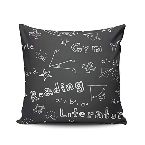 (AIHUAW Home Decorative Cushion Covers Throw Pillow Case Chalkboard School Formula Pillowcases Square 16x16 Inches Double Sided Printed (Set of 1))