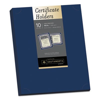 Southworth PF8 Certificate Holder, Navy, 105lb Linen Stock, 12 X 9 1/2, 10/pack