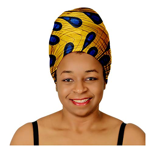 (Head Scarfs and Wraps African Print Turban Hats Ethnic (Gold and Blue Peacock))
