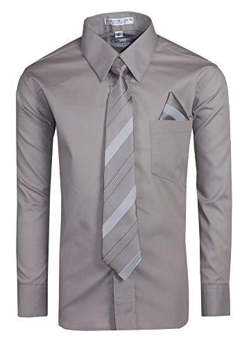 Tuxgear Boys Long Sleeve Button Up Dress Shirt with Necktie, Light Grey, Boys 8]()