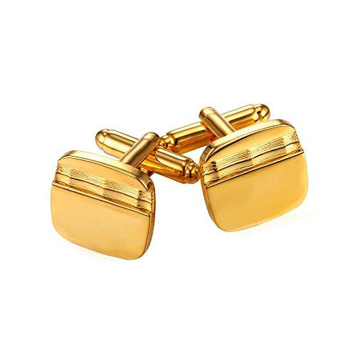 U7 Square Wave Grain Cufflinks for Men Shirt,2 Pcs (18K Gold -