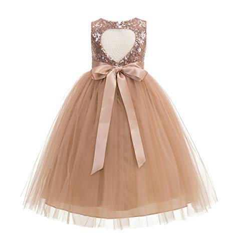 Heart Cutout Sequin Flower Girl Dress Girls Tulle Dresses Wedding Bridesmaid Dress 172seq 6 Rose Gold