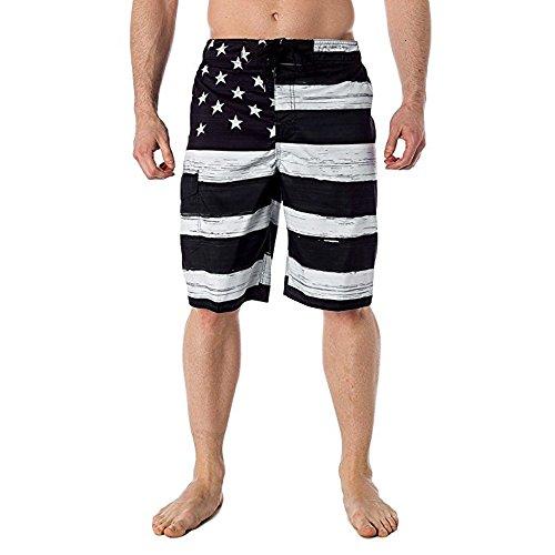 (Mysky Fashion Men Summer Classic American Flag Pocket Loose Drawstring Shorts Pants Black)