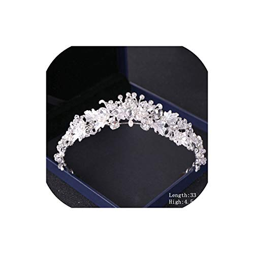 Crystal Rhinestone Wedding Crown Silver Bride Tiaras and Crown Headdress Hair Accessories For Women Wedding Bridal Headpiece,Silver3