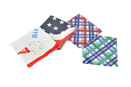 Premium Dog Pet Bandanas, Birthday, American Flag, Plad Scarfs for Dogs in Bulk Set, Wholesale and Bulk - Great for Small and Large Pets (Plad, 4 PK)