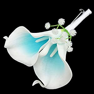 Lily Garden Real Touch Two Calla Lily Boutonniere Corsage Customize (Two Turquoise Picasso) 3
