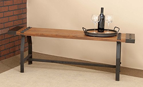 "Deco 79 51681 Industrial Black Metal & Brown Wood Bench, 55"" x 18"" by Deco 79 (Image #3)"
