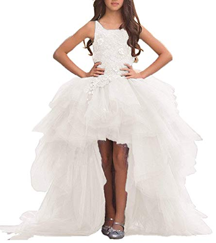Adela Lace High Neck Pageant Dresses Ball Gown Hi-Low Appliques Kids Wedding First Communion Dress with Train AR028]()