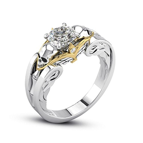 Napoo Fashion Titanium Steel Floral Decorated With A Skeleton Head Diamond Ring