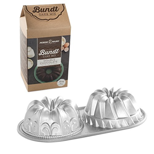 Nordic Ware Duet Cast Aluminum Bundt Pan with Double Chocolate Cake Mix