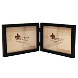 Lawrence Frames Hinged Double (Horizontal) Black Wood Picture Frame, Gallery Collection, 5 by 7-Inch